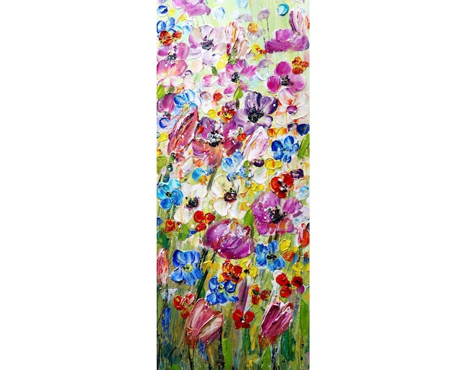 Tall Vertical Flowers wall art ORIGINAL Painting  VIVID SPRING abstract, Long Narrow wall decor for staircase, bathroom, kitchen, entryway