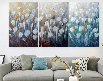 WHITE TULIPS 72x36 Large Painting Original Modern Abstract Palette Knife Textured Metallic Silver Gold XLarge Triptych Artwork