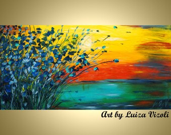 Minnesota Sunset Original Oil Painting Seascape Landscape Impasto Abstract Art on Large Canvas 48x24