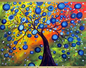 Painting 48x36 Colorful Large Canvas RAINY SUMMER  Tree Landscape Colorful Circles Art by Luiza Vizoli
