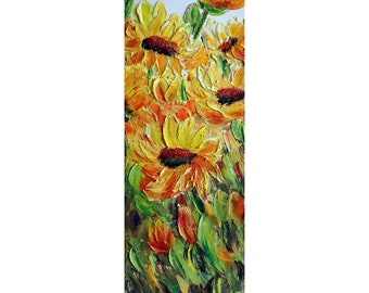 Sunflowers Field Original Painting YOU Are My SUNSHINE Impasto Textured oil on Vertical Canvas , Narrow Tall Artwork