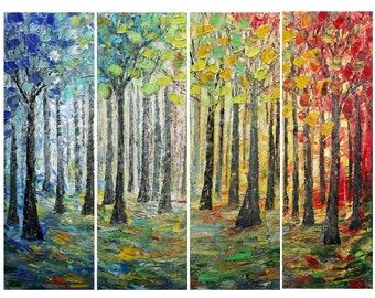 Large 4 Panels Painting Landscape SUNRISE SUN PATH Trees and Seasons Art by Luiza Vizoli 48x36