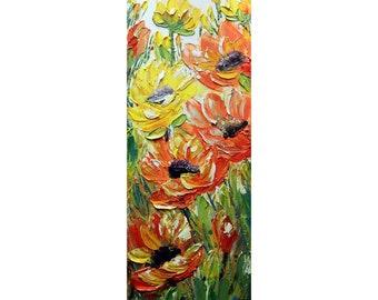 Dahlias Sunflowers Summer Fall Bouquet Original Oil Painting Impasto Textured Narrow Canvas Yellow Orange Green White