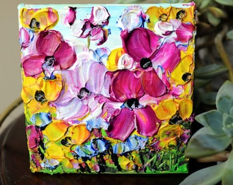 Original Oil Painting on Small Canvas, SPRING Petunia FLOWERS in White, Yellow, Purple Colors, Art by Luiza Vizoli