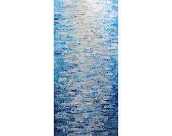 Misty Water Abstract Impasto Painting Original Large Canvas White Cream Beige Blue Aqua Gray Neutral Tones ,Neutrals Colors Vertical Artwork