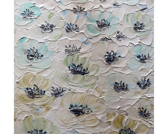 Anemones Enhanced White Cream Blue Original Oil Impasto Painting Textured Modern Art by Luiza Vizoli
