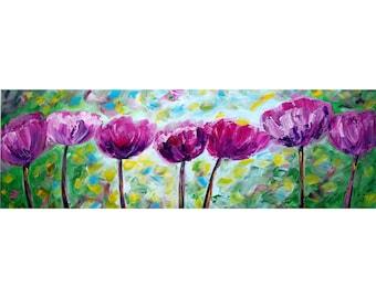 PEONIES A Beautiful Spring day Original Oil Painting Narrow Large Flowers Art by Luiza Vizoli