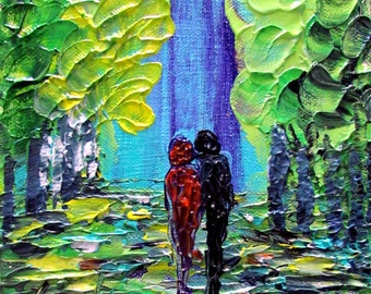 Original Modern Impressionist impasto Oil painting Trees Landscape Park Romance and Spring CUSTOM SMALL CANVAS