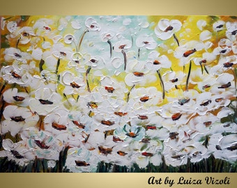 ORIGINAL WHITE FLOWERS 60x36 Original Painting Modern Abstract Palette Impasto Large Artwork by Luiza Vizoli