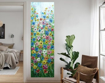 XXL Forget Me Not Cornflower Wildflowers Black-Eyed Susan Daisy Prairie Flowers Tall Vertical Art ORIGINAL Painting for staircase, entryway
