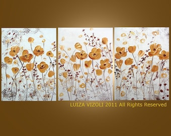 GOLD FLOWERS on White -made to order-Original Modern Abstract Floral Metallic Textured Triptych Large Painting