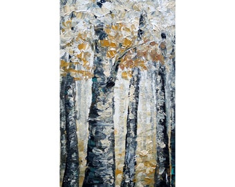 Mellow Morning Original White Gray Cream Textured Oil Painting Birch Trees will bring a fresh calming look to any decor