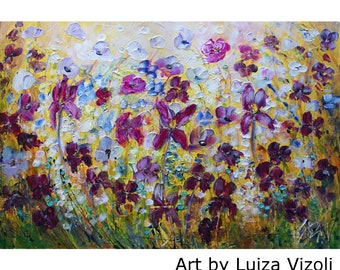 Original Painting PANSY FLOWERS Large Canvas Iris Forget Me Not Daisy White Yellow Blue Purple ready to ship