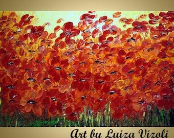 Original 60x36 Impasto Oil Painting Red Poppies TUSCANY Sunset by Luiza Vizoli