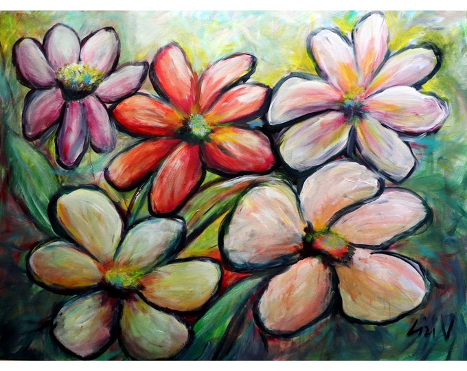 Hawaii Flowers Tropical Floral Extra Large Original Painting Colorful Floral Artwork 48x36 Canvas ready to ship