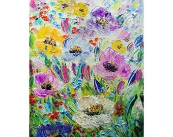 Summer BLOOM Flowers Color Palette Original Painting Flora Floral Impasto White, Cream, Aqua, Lavender, Yellow ,Purple, Green, Blue