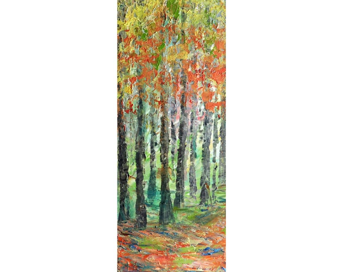 Misty Morning Fall Forest Colors Narrow Vertical Canvas Original Painting