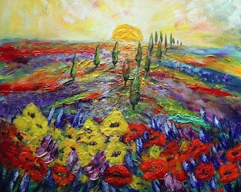 TUSCANY Original Unique Painting featuring vibrant colorful landscape of Italy red poppies bluebonnet flowers by Luiza Vizoli