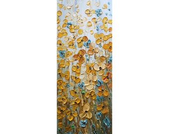 Wildflowers Prairie Flowers Tall vertical wall art ORIGINAL Painting Narrow Canvas wall decor for staircase, bathroom, kitchen, entryway