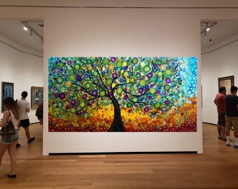 XXL OLIVE TREE of Life Extra Large Original Painting Modern Style Office Wall Art Ancient Olive Trees