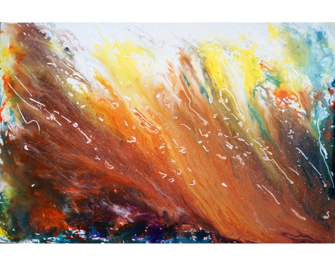 Caramel Chocolate Mocha Latte Abstract Painting Original Large Canvas Ready to Ship