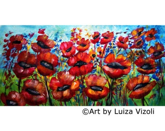 Original Oil Painting 72x36 Wild Poppies Tuscany Field Large Canvas