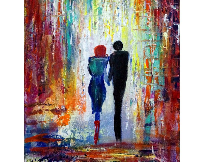 Romance Painting Oil Painting on Canvas Morning Walk by Luiza Vizoli Multiple Dimensions available - ready to hang canvas