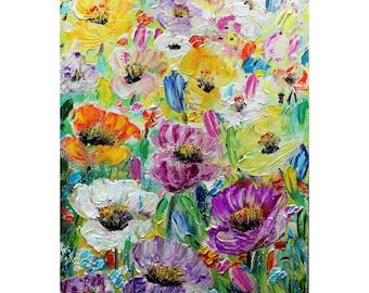 Summer Flowers Color Palette Original Painting Flora Floral Impasto Art Luiza Vizoli