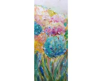 Tall Vertical Painting Bees Butterflies Colorful Spring Hydrangeas Garden Original Painting by Luiza Vizoli, narrow canvas