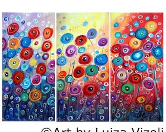 Original Painting Poppy Flowers Colorful Whimsical Canvas SUN GARDEN by Luiza Vizoli