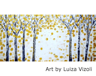 Gold White  Original Painting Trees Landscape GOLD BIRCH Oil Acrylic Modern Artwork on Large Canvas by Luiza Vizoli