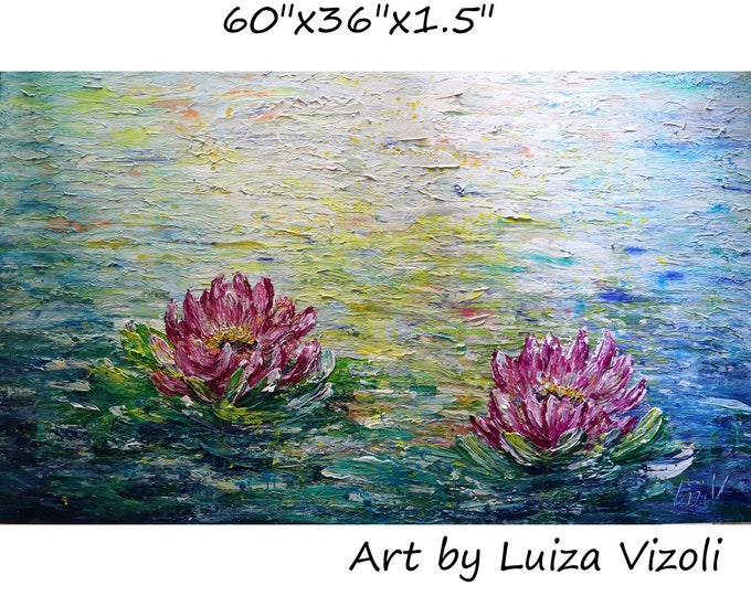 PINK LOTUS Extra LARGE Painting 60x36 Conversation with Monet Abstract Water Lilies The Most Beautiful Flowers Original Textured Art
