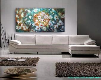 FLOWERS MOONLIGHT 72x36 Original Modern Impressionist Palette Impasto Large Painting by Luiza Vizoli