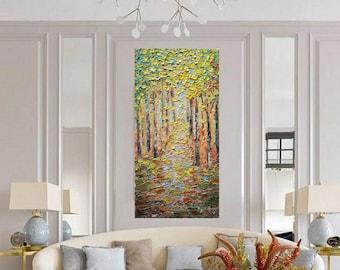 Fall  Birch Trees Extra Large Canvas Original Oil Painting on Canvas Art by Luiza Vizoli 60x36, 48x24