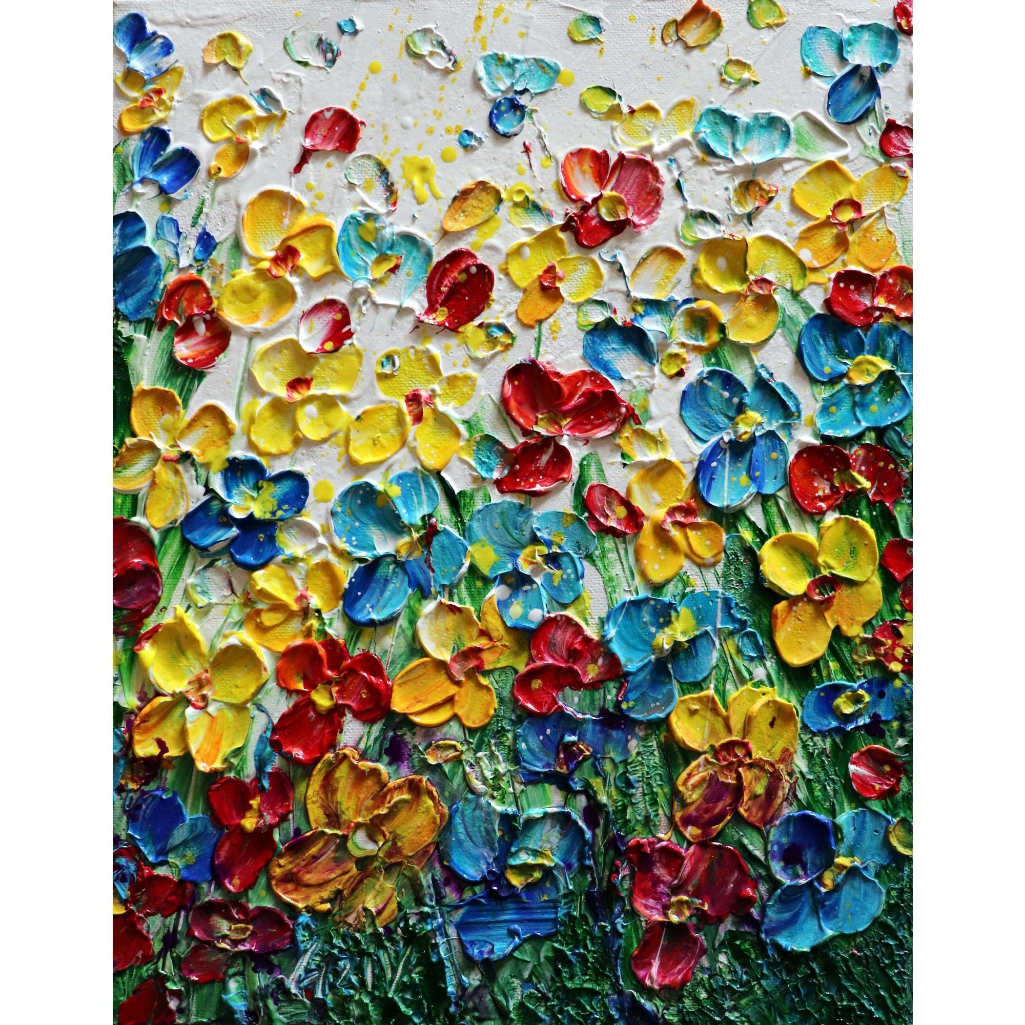 Spring Wildflowers Impasto Original Painting Flowers Fields Art By Luiza Vizoli