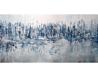 ABSTRACT CITY REFLECTION Original Painting Large Artwork White Blue Gray Black One of a Kind Artwork