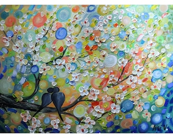 The KISS HAPPY MOMENTS Original Wall Art Landscape Birds Whimsical Painting on Large Canvas by Luiza Vizoli