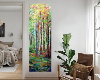 Forest Colors Summer to Fall Large Custom Art Narrow Vertical Canvas Original Painting Impasto Art