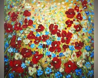 RAINING FLOWERS Tuscany Sunset Original Modern Palette Knife Impasto Oil Painting by Luiza Vizoli 30x30 , 36x36