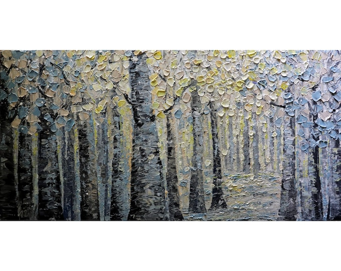 warm tones of cream, soft blues and grays birch trees forest In Perfect Harmony original painting by Luiza Vizoli