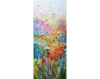 Vivid Spring Garden Bees Butterflies Spring Hydrangeas Blooming Original Painting by Luiza Vizoli, tall vertical narrow canvas