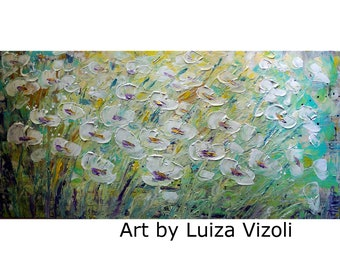 White Blue Yellow Painting Flowers Abstract Impasto Original Canvas Ready to Hang Art by Luiza Vizoli