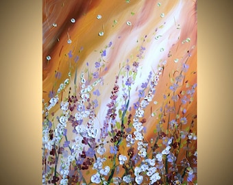 DELICATE BLOSSOM Original Modern Contemporary Trees Flowers Oil Painting on Large Canvas