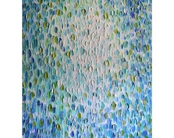 Running Water NAUTICAL COASTAL Theme Original Painting Large Canvas Blue Aqua White Touch of Green Art by Luiza Vizoli