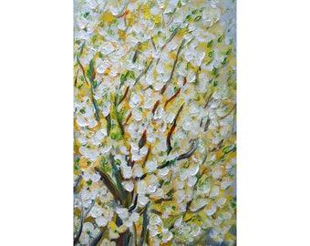 Painting on Canvas Spring APPLE Blossom White Gray Blue Yellow Cream Oil Impasto ORIGINAL Landscape Art by Luiza Vizoli