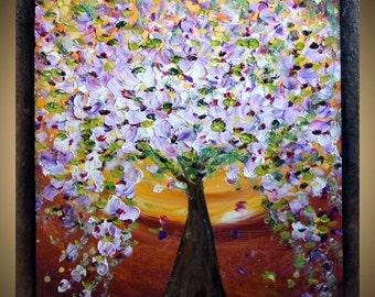 MAGNOLIA TREE Original Modern Abstract Palette Knife Oil Huge Painting 30X30 by Luiza Vizoli