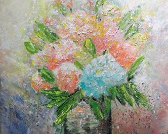 Flowers Bouquet Modern Bohemian Boho Eclectic Floral Wall Decor Original Painting Impasto Textured Art