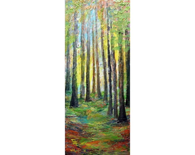 SUNRISE Forest Colors Summer to Fall Narrow Vertical Canvas Original Painting Impasto Art ready to ship