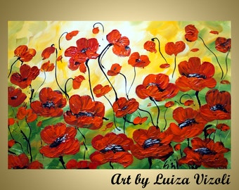 Original Modern Abstract Red Flowers Palette Knife Impasto Oil Large Painting