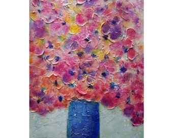 Summer Bouquet Blue Vase Impasto Textured Painting in shades of pink purple coral and blue colors